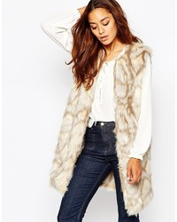 Missguided Patchwork Longline Faux Fur Vest