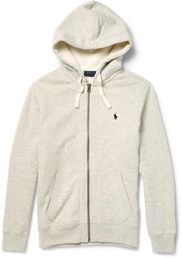 52f897e396f £83, Polo Ralph Lauren Marl Cotton Blend Zip Up Hoodie