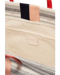 8c1dab3ff56a ... Clare Vivier Clare V Simple Textured Leather Trimmed Striped Canvas Tote  Cream ...
