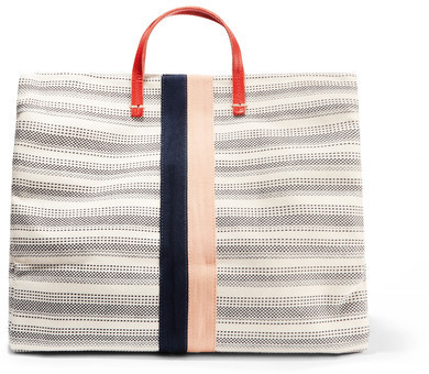 c58bcf577a24 ... Bags Clare Vivier Clare V Simple Textured Leather Trimmed Striped  Canvas Tote Cream ...