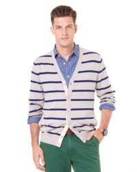 Beige Horizontal Striped Cardigan