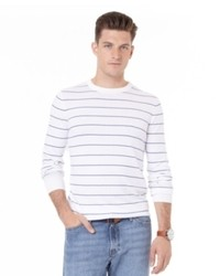 Beige Horizontal Striped Crew-neck Sweater