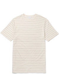 Beige Horizontal Striped Crew-neck T-shirt