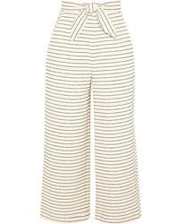 Mara Hoffman Cropped Striped Basketweave Cotton Blend Wide Leg Pants Cream