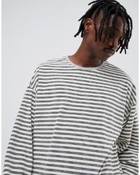 ASOS DESIGN Oversized Long Sleeve Stripe T Shirt In Towelling