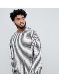 ASOS DESIGN Plus Oversized Long Sleeve Stripe T Shirt In Towelling