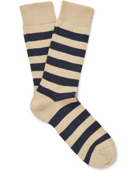 Oliver Spencer Striped Stretch Cotton Blend Socks
