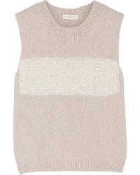 Tory Burch Striped Cotton Blend Sweater Beige