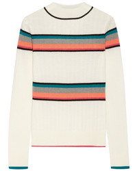 Beige Horizontal Striped Turtleneck