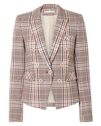 Veronica Beard Diego Dickey Double Breasted Houndstooth Cotton Blend Blazer