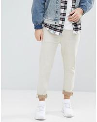 ASOS DESIGN Asos Tapered Jeans In Ecru Nep