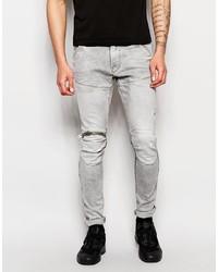 G Star G Star Jeans Elwood 5620 3d Zip Knee Super Slim Stretch Light Aged Gray