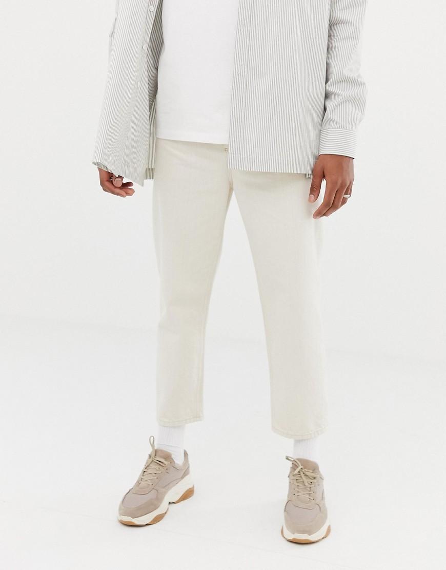 ASOS WHITE Skater Cropped Jeans In Ecru Denim