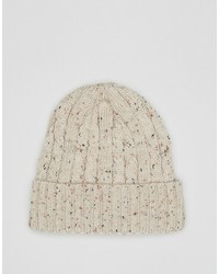 Asos Cable Fisherman Beanie In Ecru Nep