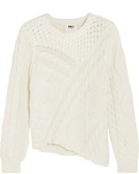 Asymmetric cable knit cotton sweater cream medium 964552