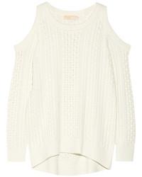 MICHAEL Michael Kors Michl Michl Kors Cutout Cable Knit Sweater Ecru