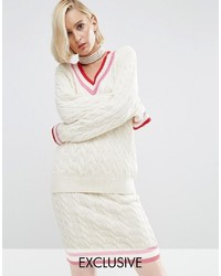 Asos Wah London X Cable Knit Cricket Sweater