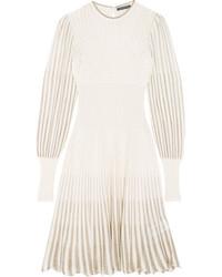 Alexander McQueen Metallic Crochet Knit Dress Cream