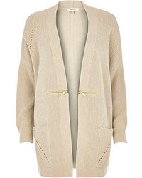 Beige Knit Open Cardigan