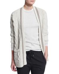 Monili beaded cable knit cardigan ivory medium 426132