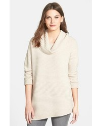 Nordstrom Collection Zigzag Ribbed Cowl Neck Cashmere Sweater
