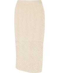 Beige Knit Pencil Skirt
