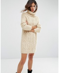 Asos Sweater Dress In Cable Stitch With Roll Neck