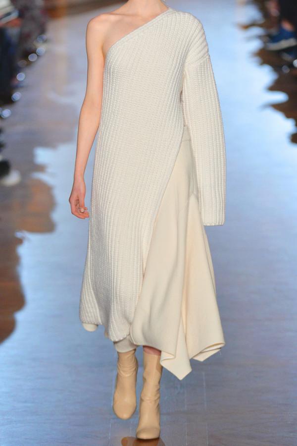 788d305e787 Stella McCartney Asymmetric Ribbed Knit Wool Blend Sweater Dress ...
