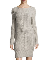 Three Dots Kelsy Cable Knit Sweater Dress Natural