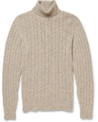 Isaia Cable Knit Cashmere Rollneck Sweater