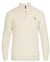 Polo Ralph Lauren Funnel Neck Cable Knit Silk Sweater