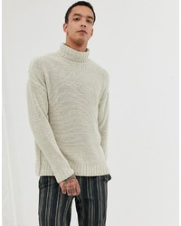 ASOS DESIGN Knitted Relaxed Fit Roll Neck Jumper In Beige