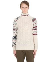 Beige Knit Wool Turtleneck