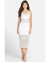 Lucky layer lace inset body con midi dress medium 516699