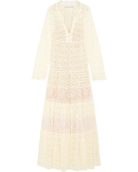 Stella McCartney Erika Tiered Cotton Blend Lace Maxi Dress Cream
