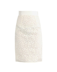 Beige Lace Pencil Skirt