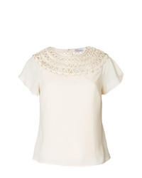 RED Valentino Crochet Neck Blouse