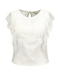 Miss Selfridge Ruffle Print T Shirt Cream