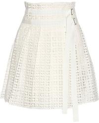 Luck pleated cotton lace wrap mini skirt medium 203871