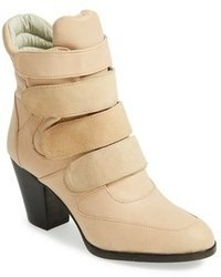Beige Leather Ankle Boots
