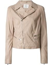 Beige Leather Biker Jacket