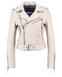Leather jacket light beige medium 3993128
