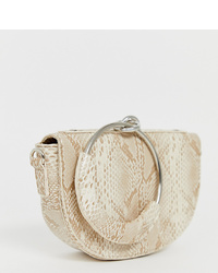 My Accessories London Half Moon Clutch Bag With Ring Handle
