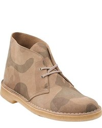 Beige Leather Desert Boots