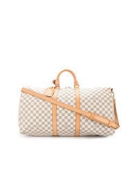 Beige Leather Duffle Bag