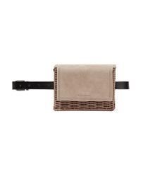 Wicker Wings Tao Rattan Suede And Leather Belt Bag