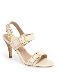 Beige Leather Heeled Sandals