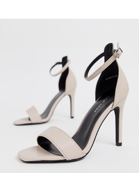 New Look 2 Part Heeled Sandal In Off White