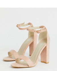 Glamorous Wide Fit Blush Barely There Heeled Sandals