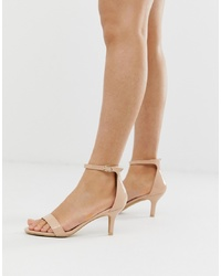 Glamorous Blush Barely There Kitten Heeled Sandals
